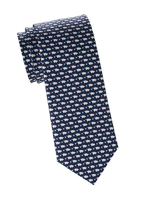 "Image of Charming tie with dot and piggy bank motifs. Silk. Dry clean. Made in Italy. SIZE. Width, about 3""."