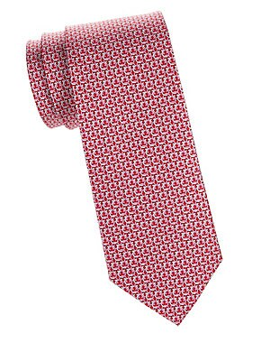 """Image of Handsome silk tie featuring an interlocking Gancini pattern. Silk Dry clean Made in Italy SIZE Width, about 3"""". Men Luxury Coll - Designer Neckwear > Saks Fifth Avenue. Salvatore Ferragamo. Color: Red."""