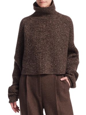Dickie Turtleneck Long-Sleeve Melange Cashmere Pullover Sweater in Brown