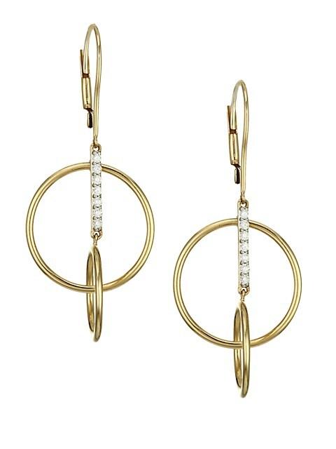 14K Yellow Gold & Diamond Bar Single Loop Earrings