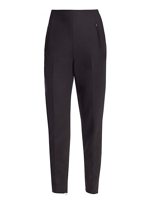 Image of A sleek pair of tapered trousers with zipper cuffs and pockets. Crafted with a retro high-rise look, these wool blend pants are ideal for pairing with tuck-in blouses, shirts and tees. Concealed side zip closure. Silk lining. Wool/viscose/cotton/elastane.