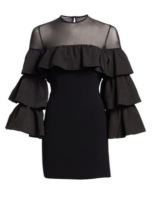 Valentina Ruffle Long-Sleeve Cocktail Dress, Black