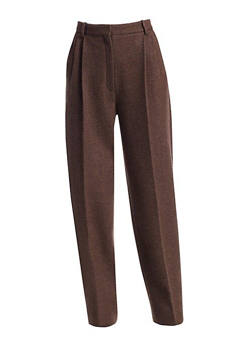 Image of Impeccably crafted from an Italian virgin wool/cashmere blend, the Nika pleated pant features a high waist, relaxed fit and straight legs. The rich fabric and elegant design embodies The Row's luxurious understated approach to wardrobe staples. Belt loops