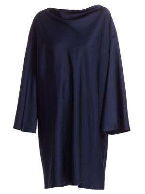 Harper High-Neck Long-Sleeve Shift Dress, Midnight Blue