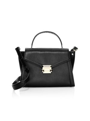 Medium Whitney Leather Satchel in Black