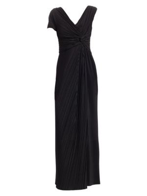 Allure One-Sleeve Pleated Long A-Line Dress in Black