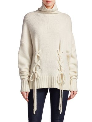 Sept Cinq Rhea In Turtleneck Sweater Ivory Lace À Up Cqqxa5zn