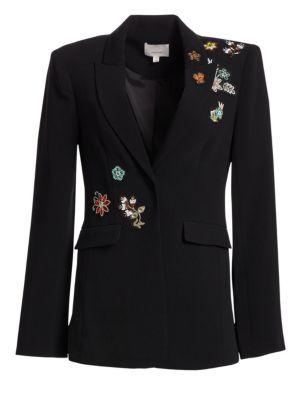 CINQ À SEPT Venus Embellished Single-Button Jacket in Black