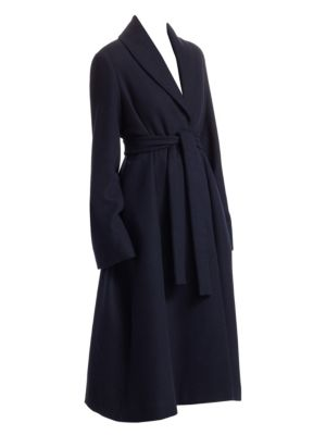 Dranner Cotton-Wool Belted Trench Coat - Navy Size Xs