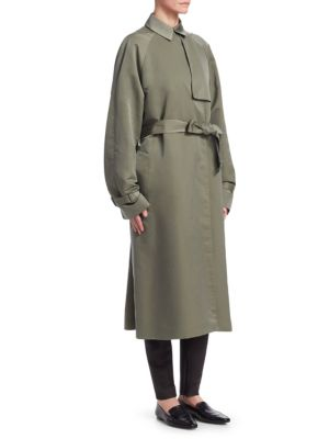 Naita Belted Nylon Long Coat, Olive