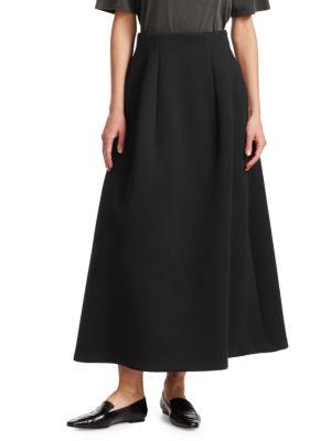 Lantely Long Pleated A-Midi Skirt, Black