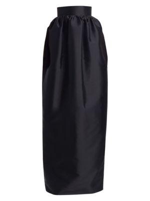 Ranel High-Waist Full Silk Duchess Evening Skirt in Black