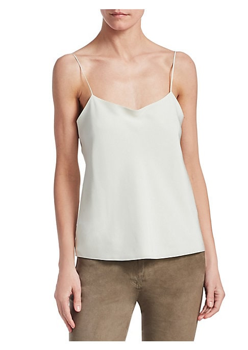 "Image of A sleek camisole top crafted from luxurious, 100% Italian silk. The perfect piece to wear with a color-pop cardigan or sharp blazer. Cowlneck. Sleeveless. Spaghetti straps. Lined. Silk. Dry clean. Made in USA. SIZE & FIT. About 21"" from shoulder to hem. M"