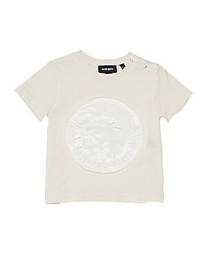 Image of Embroidered logo lends an embossed aesthetic to this basic tee. Crewneck Short sleeves Snap-button shoulder closure Cotton Machine wash Imported. Children's Wear - Contemporary Children. Diesel. Color: Blanc. Size: 12 Months.