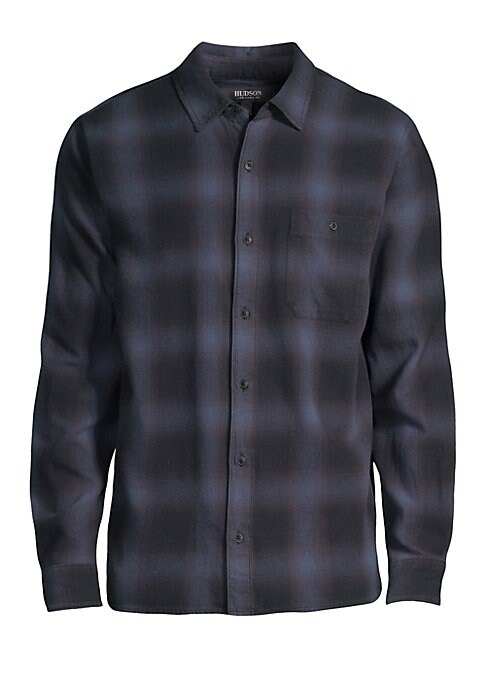 """Image of Casual long sleeve button-down shirt crafted of super-soft plaid cotton. Point collar. Long sleeves. Button front. Button cuffs. Chest patch button pocket. Cotton. Machine wash. Imported. SIZE & FIT. About 29"""" from shoulder to hem."""