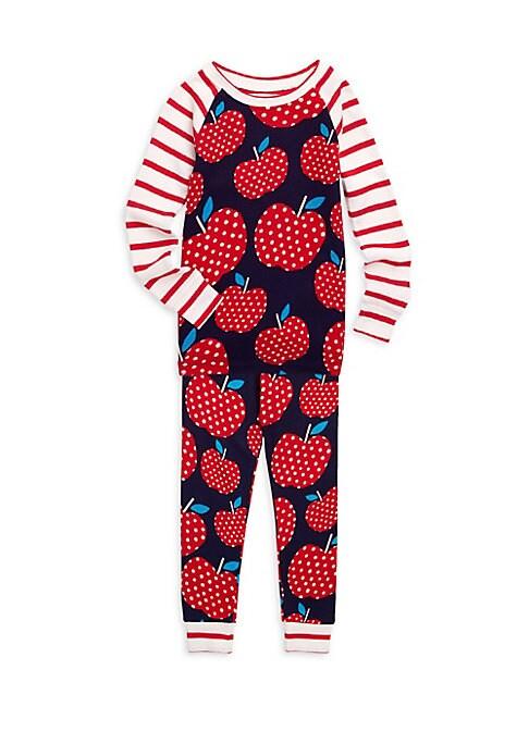 Little Girls  Girls TwoPiece Polka Dot Apple Pajama Set