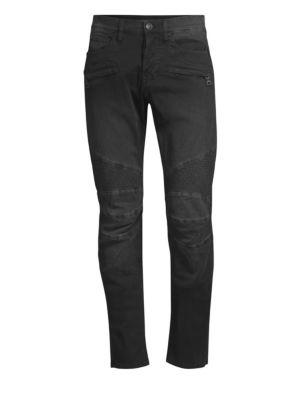 Blinder Zip-Front Biker Skinny Jeans, Black