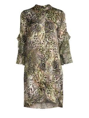 Sawyer Safari Animal Print Silk Mini Dress, Olivine Multi