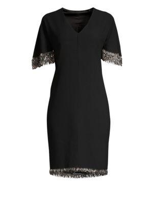 ELIE TAHARI Merci Cape-Sleeve Sheath Dress With Beaded Fringe in Black