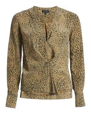 Leopard-Print Silk Blouse - Dk. Green Size M in Olive Multi