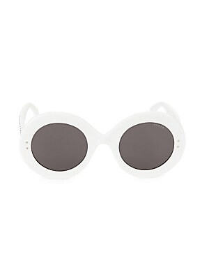 Image of Bedazzled frames accentuate minimalist aesthetic of sunglasses. Solid black lenses Acetate Made in Italy SIZE 50mm lens width 26mm bridge width 145mm temple length. Soft Accessorie - Sunglasses. Alaïa. Color: White.