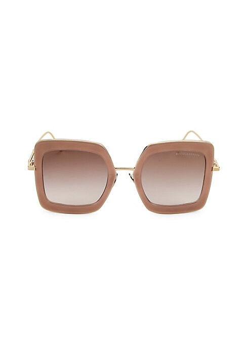 Image of Goldtone trim lends a striking metallic contrast to these bold square sunglasses. Gradient brown lenses. Injection. Made in Italy. SIZE.51mm lens width.24mm bridge width.140mm temple length.