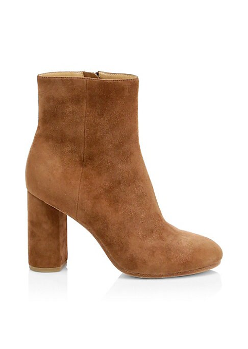 Versatile booties crafted out of kid suede flaunting a comfortable and on-trend block heel. Suede upper Round toe Side zip closure Leather lining and sole Imported SIZE Self-covered suede block heel, 3.5\\\