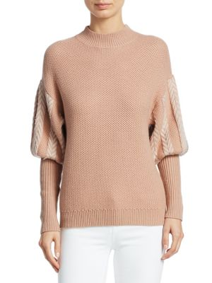 JONATHAN SIMKHAI Knit Puff Sleeve Sweater in Ivory
