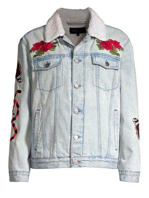 KENDALL + KYLIE Embroidered Pile-Trim Trucker Jacket in Vintage Blue