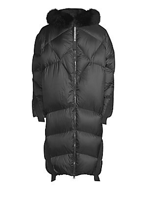 Image of Directional down jacket with fur trim and a cocoon-like silhouette Attached hood with removable fur trim Long sleeves Two-way zip front Polyester Fill: Duck down/feather Fur type: Dyed fox Fur origin: Finland Dry clean by fur specialist Made in Italy SIZE