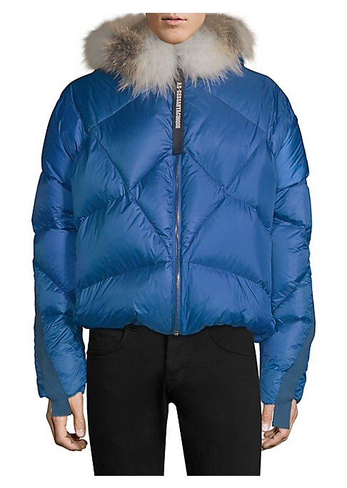 Image of Cozy puffer jacket with removable fox fur trim and military-inspired ribbon. Attached hood. Long sleeves. Front zip closure. Lined. Polyester. Fill: Goose feather. Fur type: Natural fox. Fur origin: Finland. Dry clean by fur specialist. Made in Italy. SIZ