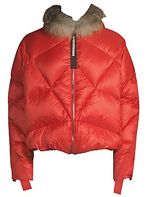 Image of Luxe fox fur trims military detail quilted down coat. Attached hood Long sleeves Zip front Lined Polyester Fill: Duck down Fur type: Natural fox Fur origin: Finland Dry clean by fur specialist Made in Italy SIZE & FIT About 26 from shoulder to hem. Men Ad