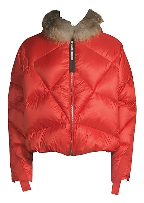 """Image of Luxe fox fur trims military detail quilted down coat. Attached hood. Long sleeves. Zip front. Lined. Polyester. Fill: Duck down. Fur type: Natural fox. Fur origin: Finland. Dry clean by fur specialist. Made in Italy. SIZE & FIT. About 26"""" from shoulder to"""