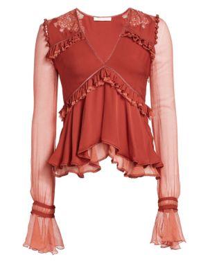 Jonathan Simkhai Silk Mixed Lace Blouse