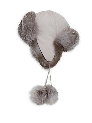 07d717b391b Saks Fifth Avenue Collection - COLLECTION Fox Fur-Lined Pom Pom Trapper Hat
