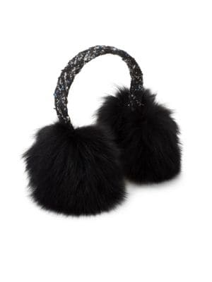 SURELL Tweed & Dyed Fox Fur Earmuffs in Black Blue