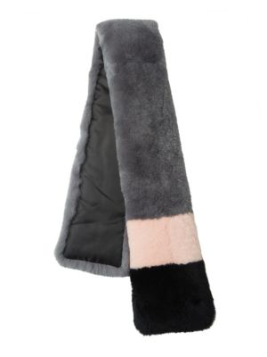 SURELL Dyed Rex Rabbit Fur Color Black Scarf in Multi