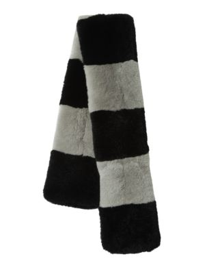 SURELL Dyed Rex Rabbit Fur Stripe Scarf in Black Grey