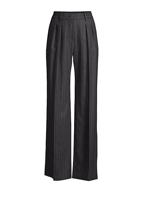 Image of The classic pinstriped pant is updated with a wide leg and double pleats for a figure-flattering silhouette. A blend of virgin wool spliced with cashmere and elastane makes for a luxurious and comfortable fit. Belt loops. Zip fly with hook-and-eye closure