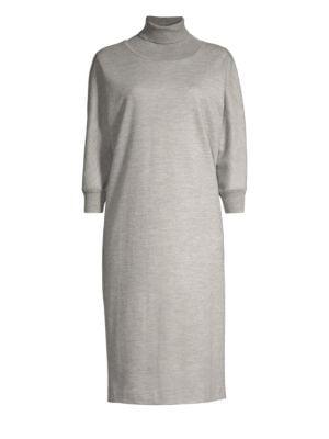 Freda Turtleneck Sweatshirt Dress, Light Grey