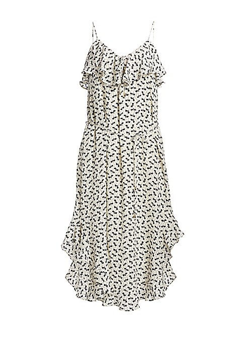 Image of Bold floral graphics accentuate delicate self-tie waist on this svelte tank dress.V-neck with ruffled overlay. Spaghetti straps. Self-tie waist. Scoopback. Ruffled shirttail hem. Viscose lining. Silk. Dry clean. Imported. SIZE & FIT. Tank silhouette. Abou