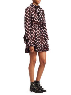 ZIMMERMANN Unbridled Polka Dot Ruffled A-Line Dress in Black