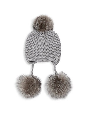 "Image of This knit hat flaunts bold and cozy pom poms. Cashmere Fur type: Dyed genuine fox fur Fur origin: Finland Dry clean Made in Italy SIZE 8""W x 8.5""L. Soft Accessorie - Cold Weather Accessories. Inverni. Color: Light Grey."