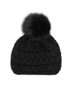 INVERNI Beatrice Fur Pom Pom Beanie in Black