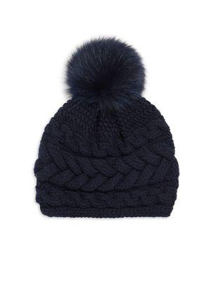 INVERNI Beatrice Fox Fur Pom Pom Cable Knit Cashmere Beanie in Navy