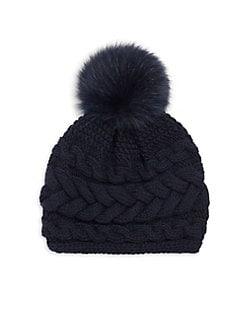 5484dc19075 Inverni - Beatrice Fox Fur Pom Pom Cable Knit Cashmere Beanie