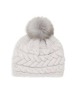 4a0679f3af2 Inverni - Beatrice Fox Fur Pom Pom Cable Knit Beanie