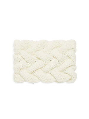 """Image of Cable knit headband is a luxurious artisanal accessory. Cashmere Dry clean Made in Italy SIZE 5.5""""W x 8.5""""L. Soft Accessorie - Cold Weather Accessories. Inverni. Color: White."""