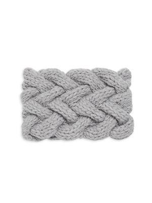 INVERNI Virginia Cable Knit Cashmere Headband in Light Grey