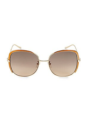 Image of 100% UV protection Acetate Imported SIZE 58mm lens width 18mm bridge width 140mm temple length. Soft Accessorie - Sunglasses. Gucci. Color: Gold.